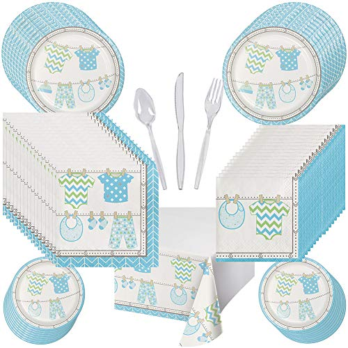 Baby Boy Shower Party Pack Set Serves 16 - Luncheon & Dessert Paper Plates, Napkins, Table Cover, Cutlery - Disposable Party Supplies for Food and Cake -