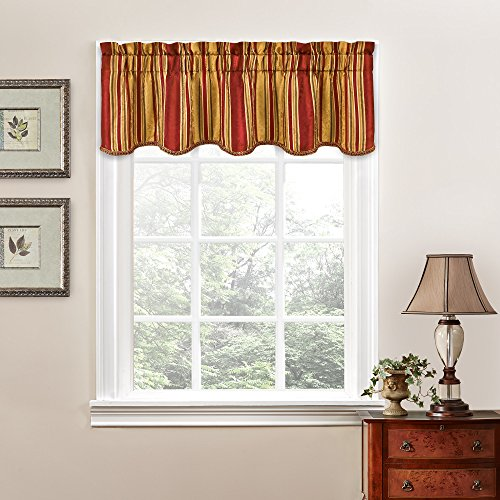 Traditions by Waverly Stripe Ensemble Scalloped Window Valance, 52x16, Crimson