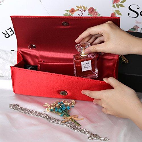 Handbags Red Magnet Evening Fabrics Envelope Clutch Evening Women Silk Bag Hook Purse PU wq7PTH7