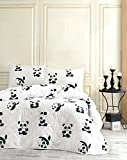 3 Pcs Soft Colored Full and Double Bed Size Bedroom Bedding 65% Cotton Double Quilted Bedspread Set 100% Fiber Filling Padded Soft Relaxed Design Comfortable Pattern Panda Animal Bedspread Set