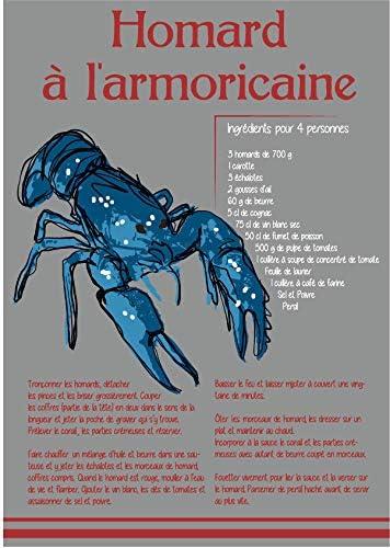 torchon breton 100/% coton homard /à larmoricaine 50//70 cm