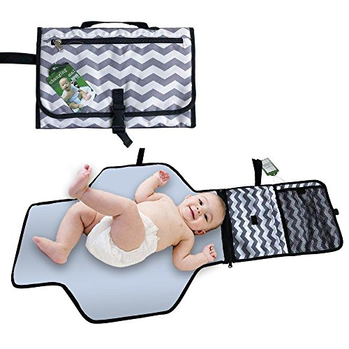 Portable Baby Diaper Changing Pad Kit, Travel Waterproof Home Change Mat Organizer Bag for Toddlers Infants and Newborns , Changing Station with Cushioned Changing Mat and Wipes Case, 3 Pockets