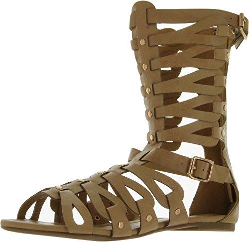 Nature Breeze Women's Rome-06 Gladiator Sandals,Camel,10