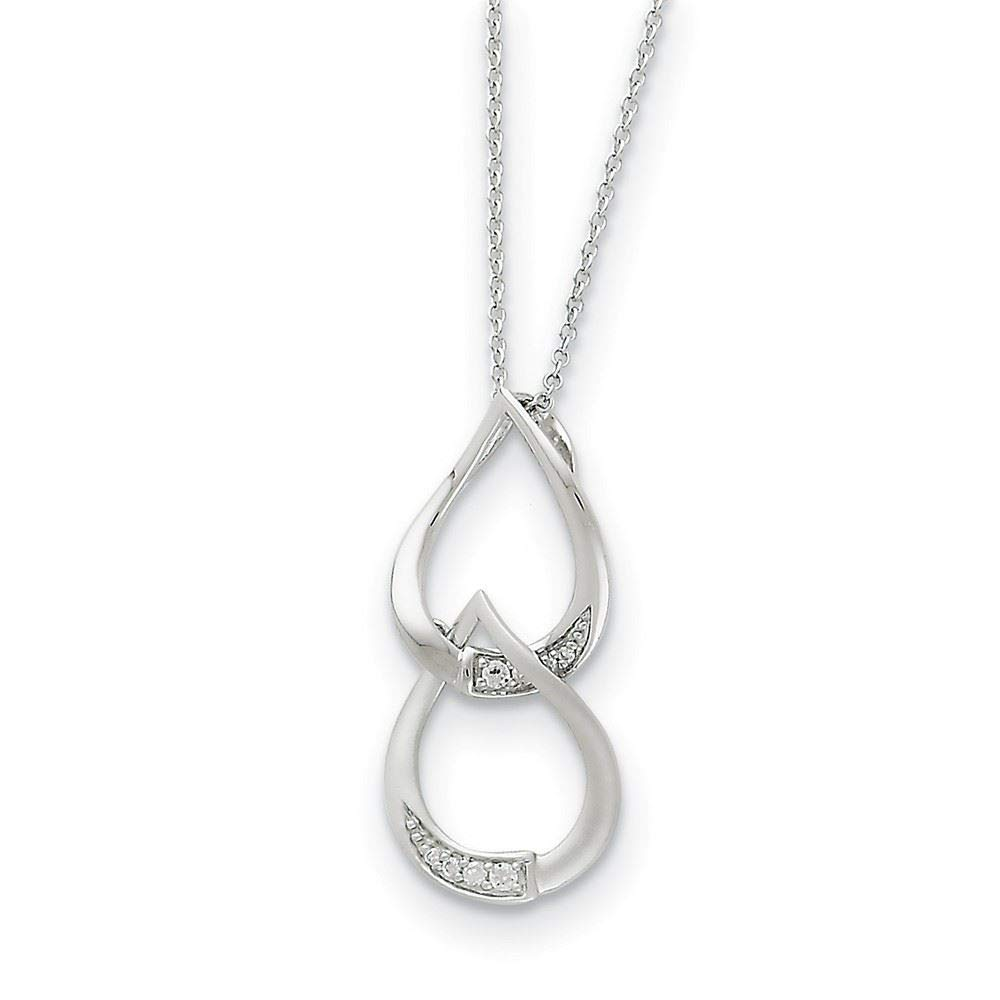 18 Sentimental Expressions Sterling Silver and CZ Tears to Share Necklace