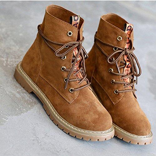 Chaussures Mode de Smelle Rétro Mollet Automne Bottes Lacets Femmes 38 Hiver Mi Antidérapant Bottines Martin Inconnu Rétro Brun wPU6I8zqP