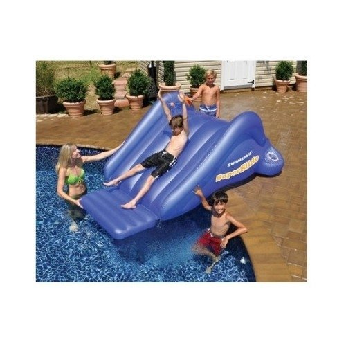 Inflatable Water Slide Dubai: Inflatable Swimming Pool Water Slide Blue 8ft