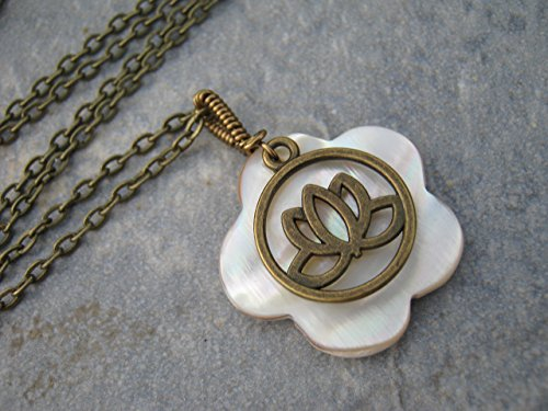 Lotus Flower Mother of Pearl Necklace, Wire Wrapped Shell Pendant, Antiqued BRONZE, Handmade Beach Necklace