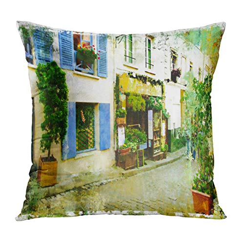 Street Scene Decor (Emvency Throw Pillow Covers Cafe Streets of Old Montmartre Paris Watercolor French France Vintage Restaurant Scene Custom Square Size 18 x 18 Inches Home Decor Pillowcases Cushion)