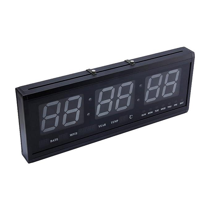 Reloj de pared grande Azul LED Digital alarma del reloj temporizador de la batería con la temperatura del calendario 36 C: Amazon.es: Hogar