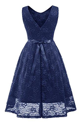 Aecibzo Dentelle Vintage Floral Femmes Cocktail Robe De Soirée Avec Ceinture Bleu Foncé