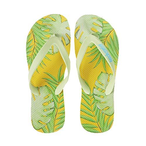 - Beachcomber Blue Water Palm Leaves Natural Rubber Flip Flops (Medium (Kids 5,6 Ladies 7,8)) Yellow,Green