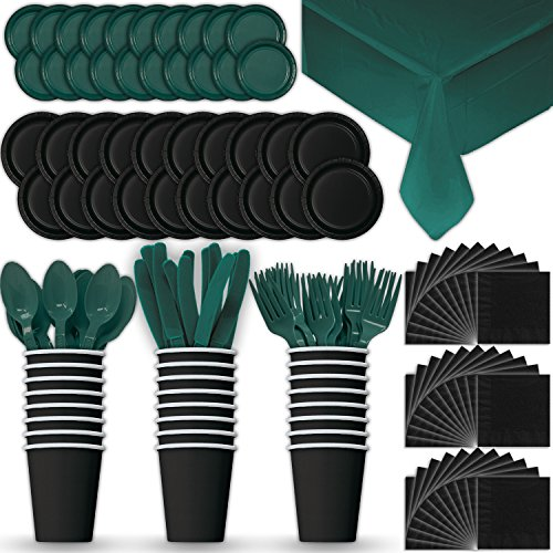 (Paper Tableware Set for 24 - Black & Hunter Green - Dinner and Dessert Plates, Cups, Napkins, Cutlery (Spoons, Forks, Knives), and Tablecloths - Full Two-Tone Party Supplies Pack)