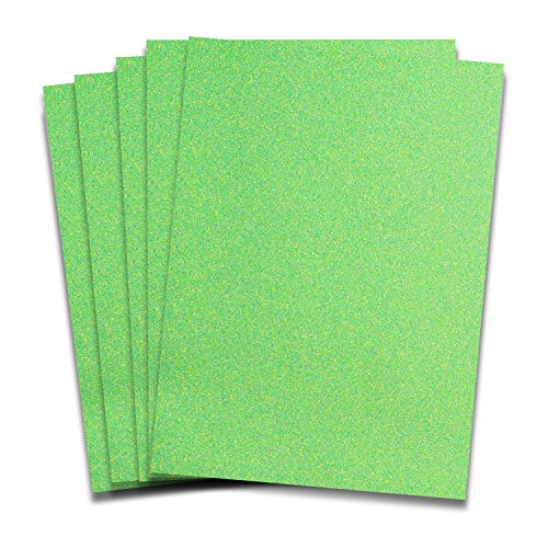 Rozzy Crafts - Neon Green Glitter Heat Transfer Vinyl (HTV) - 5 Sheets Each 12 inches by 10 inches - Works with Cricut, Silhouette, and All Other Cutting Machines