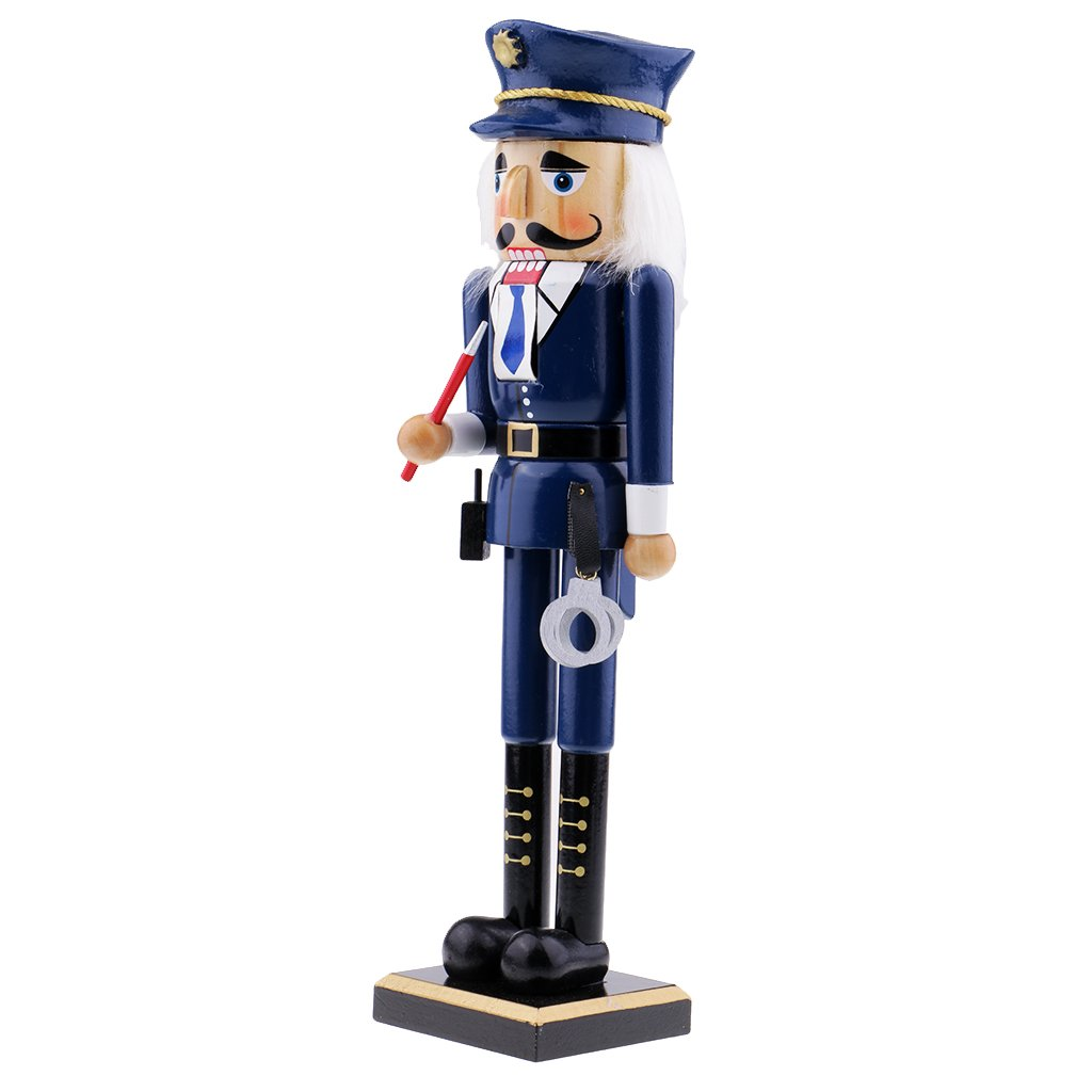 Homyl Nutcracker Puppet Police Wood Hand-painted Walnut Soldiers Puppets Doll Toy for Kids Gift - #2