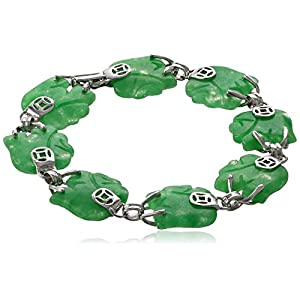 Rhodium-Plated Sterling Silver Green Jade Lucky Elephant Bracelet