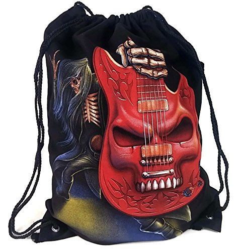 Drawstring Bag Backpack Sack 100  Cotton Canvas Reversible Unique Graphic Print 20  X 15   Black  Guitar