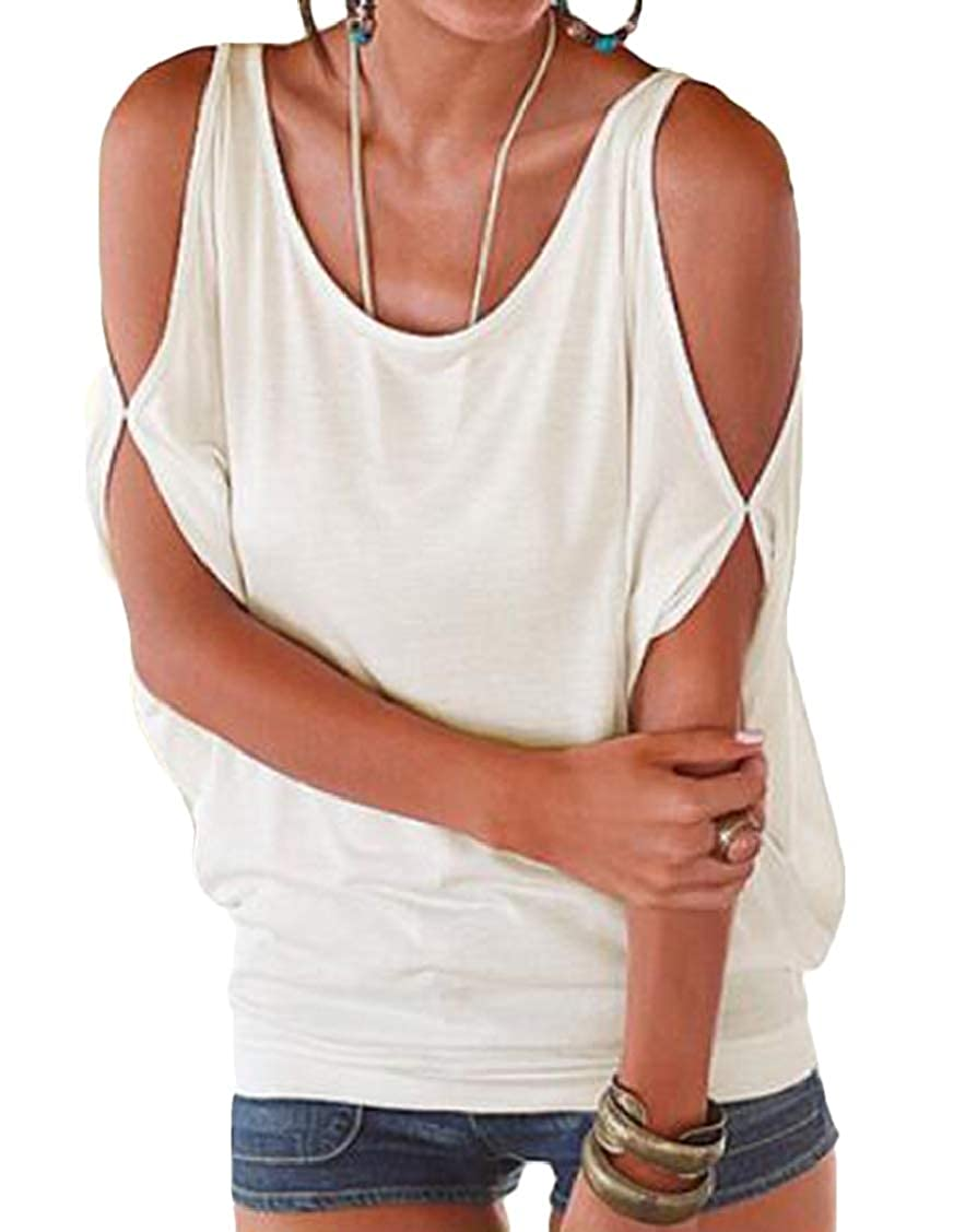 Rrive Womens Casual Cold Shoulder Loose Fit Top All-Match T-Shirt Tee Top