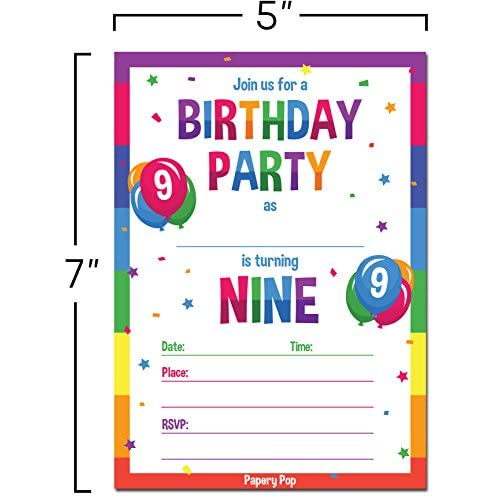 9th Birthday Party Invitations With Envelopes 15 Count
