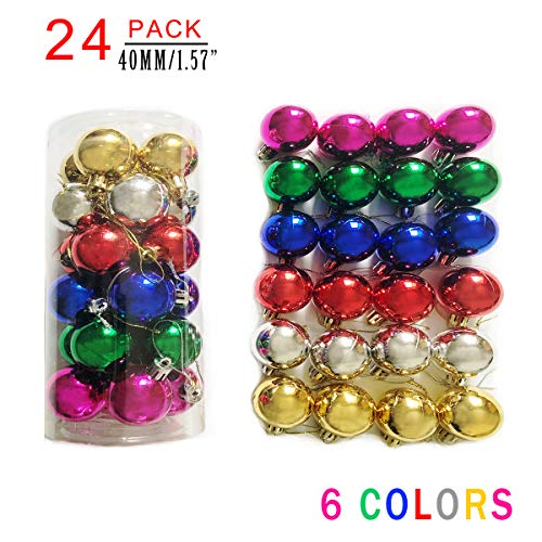 AllBeauty 24ct 40mm Christmas Balls Ornaments Essential Christmas Tree Decorations Shatterproof Christmas Decorations Indoor for The Home Holiday Christmas Party Decoration (6 Colors, 24ct) (Christmas Tree Ornaments Shatterproof)