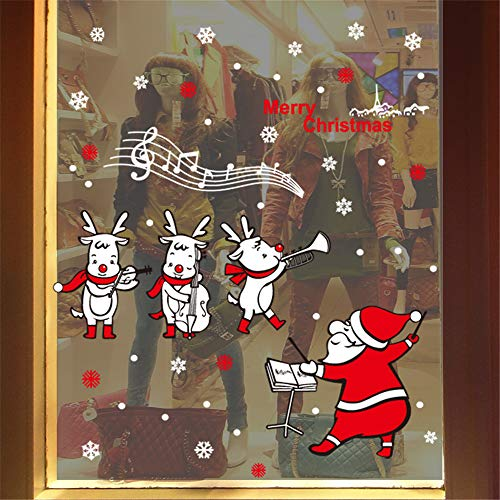 Christmas Merry Christmas Santa Claus Music Window Clings Decorations Xmas Party Stickers Decal Ornaments for $<!--$0.99-->
