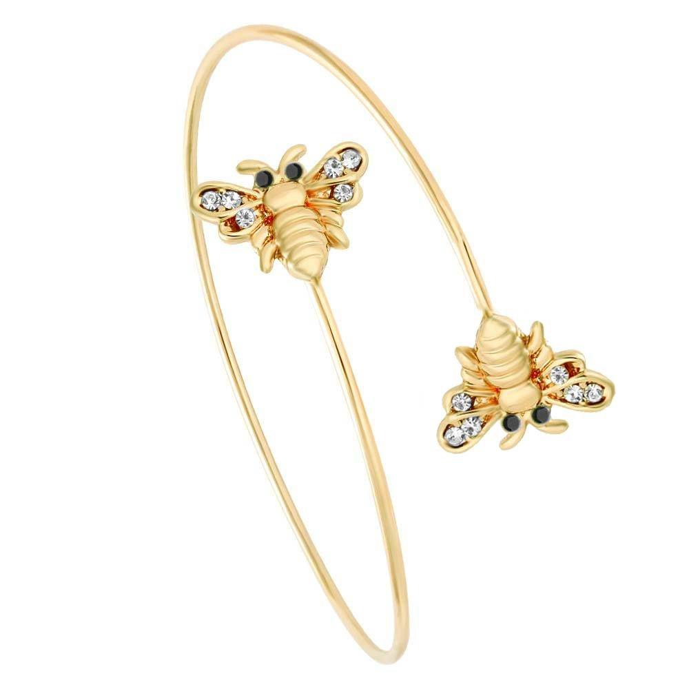 SENFAI Latest Tiny Bee and Flower Adjustable Charm Bracelet Bangles Women Jewel (2 Bee Gold)