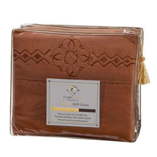 Ultimate Clara Clark Premier 1800 Bed Sheet Set - with Majestic Embroidery - Cal King Size, Mocha Light Brown (Ck Generic 1 Light)