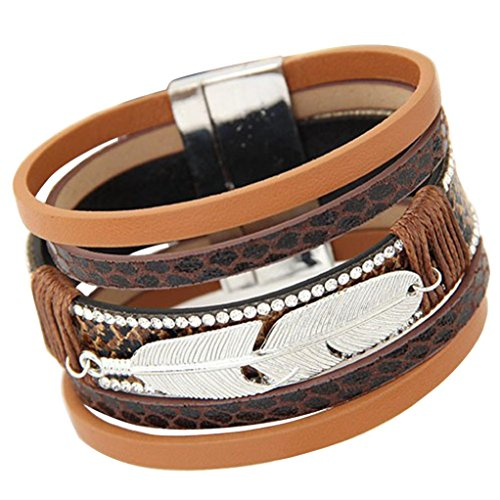 Willsa Retro Style Unisex Feather Design Multilayer PU Leather Magnetic Charm Bracelet (Coffee)