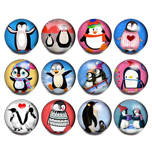 Soleebee 12 pcs Aluminum Glass 18mm Round Snap Button Jewelry Charms for Snaps Jewelry Making DIY Craft (Penguin)
