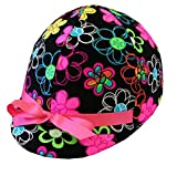 Equestrian Riding Helmet Cover - Neon Daisies