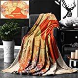 Unique Custom Double Sides Print Flannel Blankets Asian Yoga Decor Meditation Aura Thai Temple Ornamental Motive Spiritual Design Pr Super Soft Blanketry for Bed Couch, Throw Blanket 60 x 50 Inches