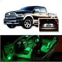 Ameritree Dodge Ram 1500 2500 3500 4500 5500 2009-2016 ( 7 Pcs ) Green Premium LED Lights Interior Package + White LED License Plate Kit