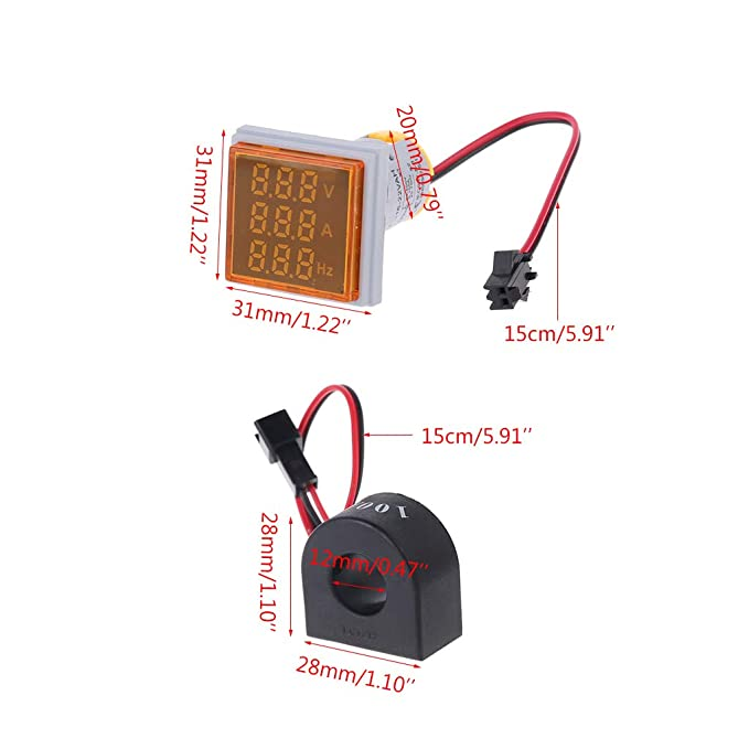COLUDOR 3 en 1 amper/ímetro digital volt/ímetro panel de frecuencia medidor 0 100 A indicador cuadrado voltaje Amp Hz l/ámpara LED luz de se/ñal con CT