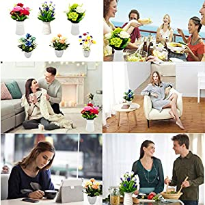 UIKKOT Artificial Fake Flowers Silk Bouquet Roses in Plastic Vase Sturdy Bottom Arrangements for Indoor Outdoor Decorations Wedding Party Home Videos Table Gift or MV (Pink and Yellow) 5