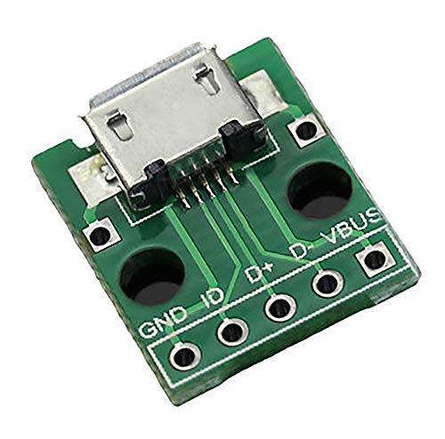 MICRO USB to DIP Adapter 5 Pin Female Connector B Type Pcb Converter 2.54 DIY Electronic Module Pinboard Kit (Green)