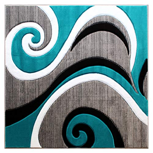 ollection Hand Carved Square Area Rug Modern Contemporary Turquoise Grey White Black (5 Feet 3 Inch X 5 Feet 3 Inch) Square ()