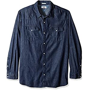 Tommy Hilfiger Men's Denim Shirt with Snaps Long Sleeves