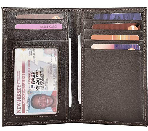 Slim Thin ID/Credit Card Holder RFID Genuine Leather Bifold Front Pocket Wallet (Napa Coffee) ()