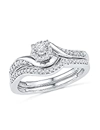 Omega Jewellery Sterling Silver Round Diamond Swirl Bridal Engagement Ring Matching Band Set (0.23 Ct)