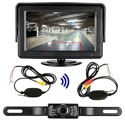 Emmako 9V-24V Wireless Rear View Backup Camera and Mirror Monitor Kit For all Car / Vehicle / Truck / Van / Caravan / Trailers / Camper with 7 LED Night Vision Waterproof
