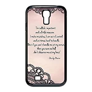 Marilyn Monroe Quotes D4K94J2EO funda Samsung Galaxy S4 caso 9500 funda 7GV75S negro