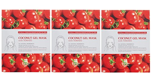 Leaders Cosmetics Insolution Tomato Superfood Mask (Pack of 3) with Coconut Fruit Extract, Tomato Fruit Extract, Matricaria Flower Extract and Glycerin, 1 ct. - Lycopene Tomato Juice