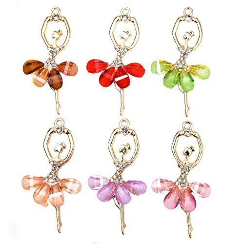 (Monrocco 12 Pcs Enamel Ballet Dancing Girl Charm Pendant for DIY Necklace Pendant Charm Jewelry Making )