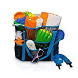 Large Mesh Beach Toy Bag with Shoulder Strap. Great for Beach, Grocery, Picnics, and Camping. Holds Beach Toys and Towels while leaving your hands free. (Blue) by Simply Things