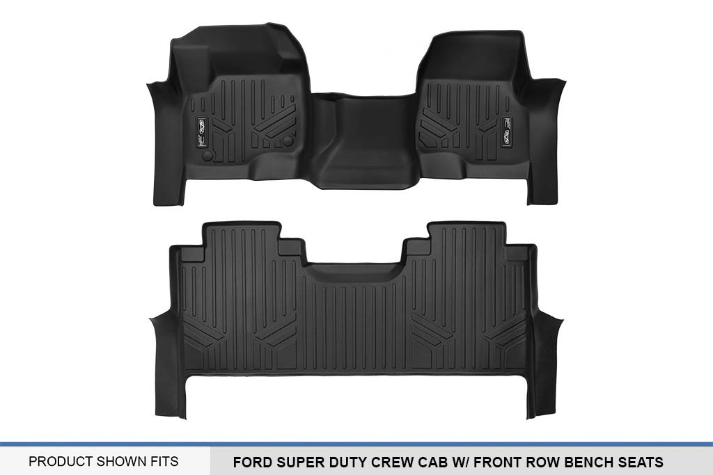 MAX LINER A0298/B0298 Custom Floor Mats 2 Liner Set Black for 2017-2019 Ford F-250/F-350 Super Duty Crew Cab with 1st Row Bench Seat by MAX LINER (Image #5)