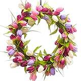 TULIP WREATH - PURPLE, PINK & BURGUNDY (SW952) - Spring Wreath - Summer Wreath - Silk Wreath