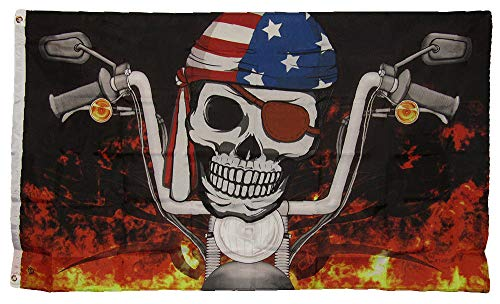 ALBATROS 3 ft x 5 ft The Flag Joint Pirate Biker USA American Flag Banner 100% Polyester for Home and Parades, Official Party, All Weather Indoors Outdoors