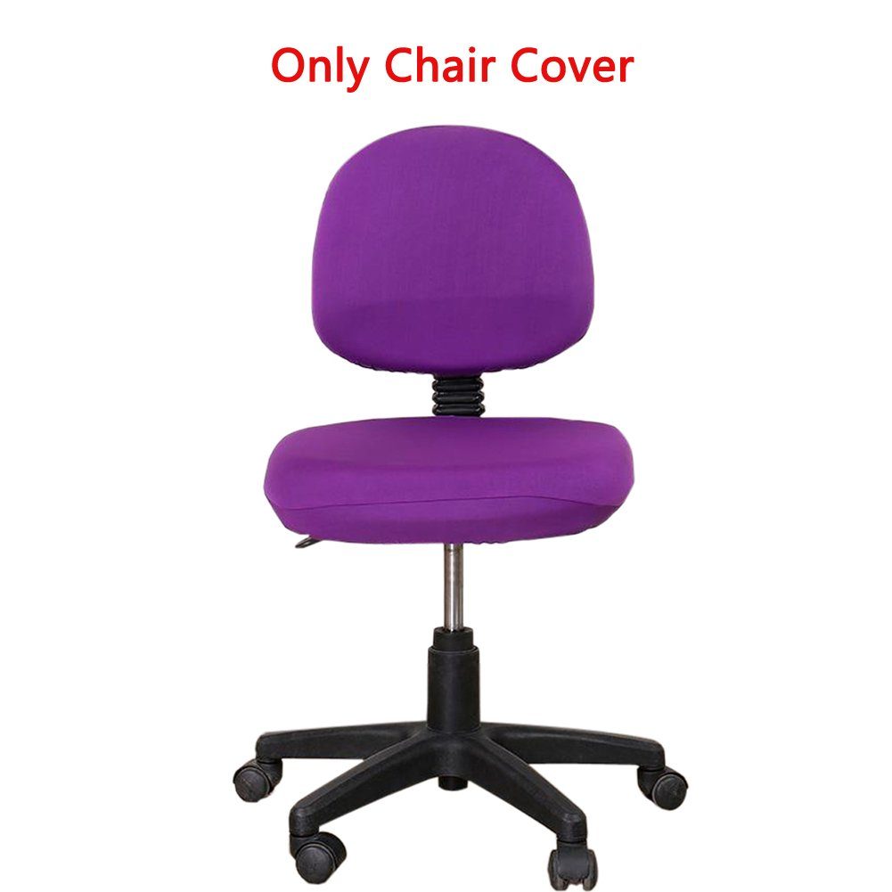 Loghot Comfortable Soft Chair Covers Split Computer Office Desk Slipcovers Stretch Rotating Polyester Spandex Chair Pads Covers (Purple)