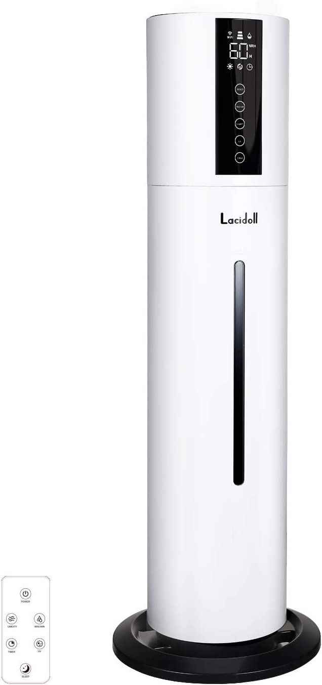 LACIDOLL 8L Humidifiers for Home& Large Room Top Fill Cool Mist for Bedroom&Whole House, Customized Humidity, Remote Control, Whisper-Quiet Auto Shut Off