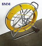 TECHTONGDA Fish Tape Fiberglass Reel Wire Cable Running Rod Duct Rodder Fishtape Puller 8mm