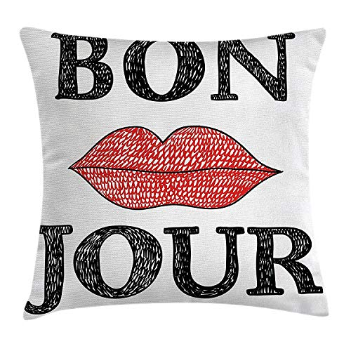 Lifestyle Throw Pillow Cushion Cover, Hand Drawn Style Vintage Bon Jour Quote with Female Lips French Good Day Image, Decorative Square Accent Pillow Case, 18 X 18 Inches, Black -